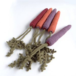 Picture of crocheted carrots in a range of colours