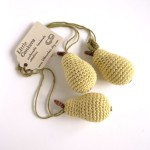 Hand-crocheted pear decorations