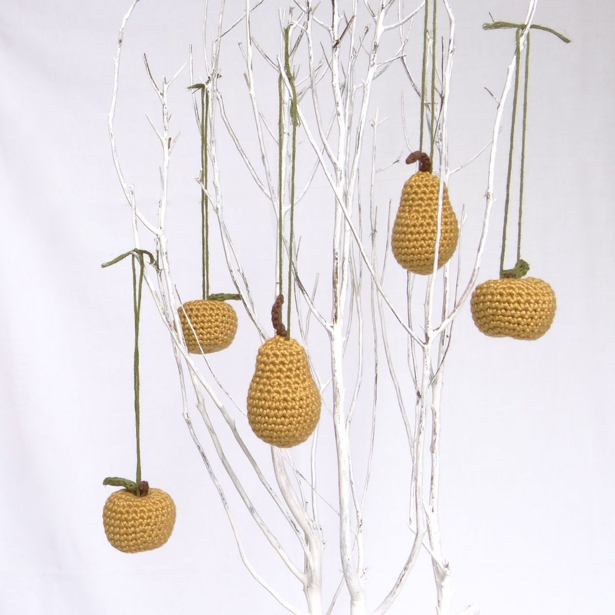Mini pear and apple hanging decorations