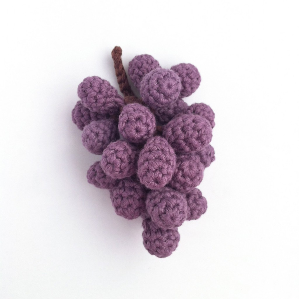 Crocheted Grapes made to an original Little Conkers pattern