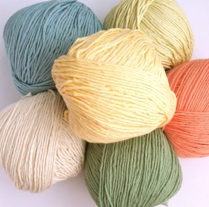 Picture of skeins of organic cotton yarn