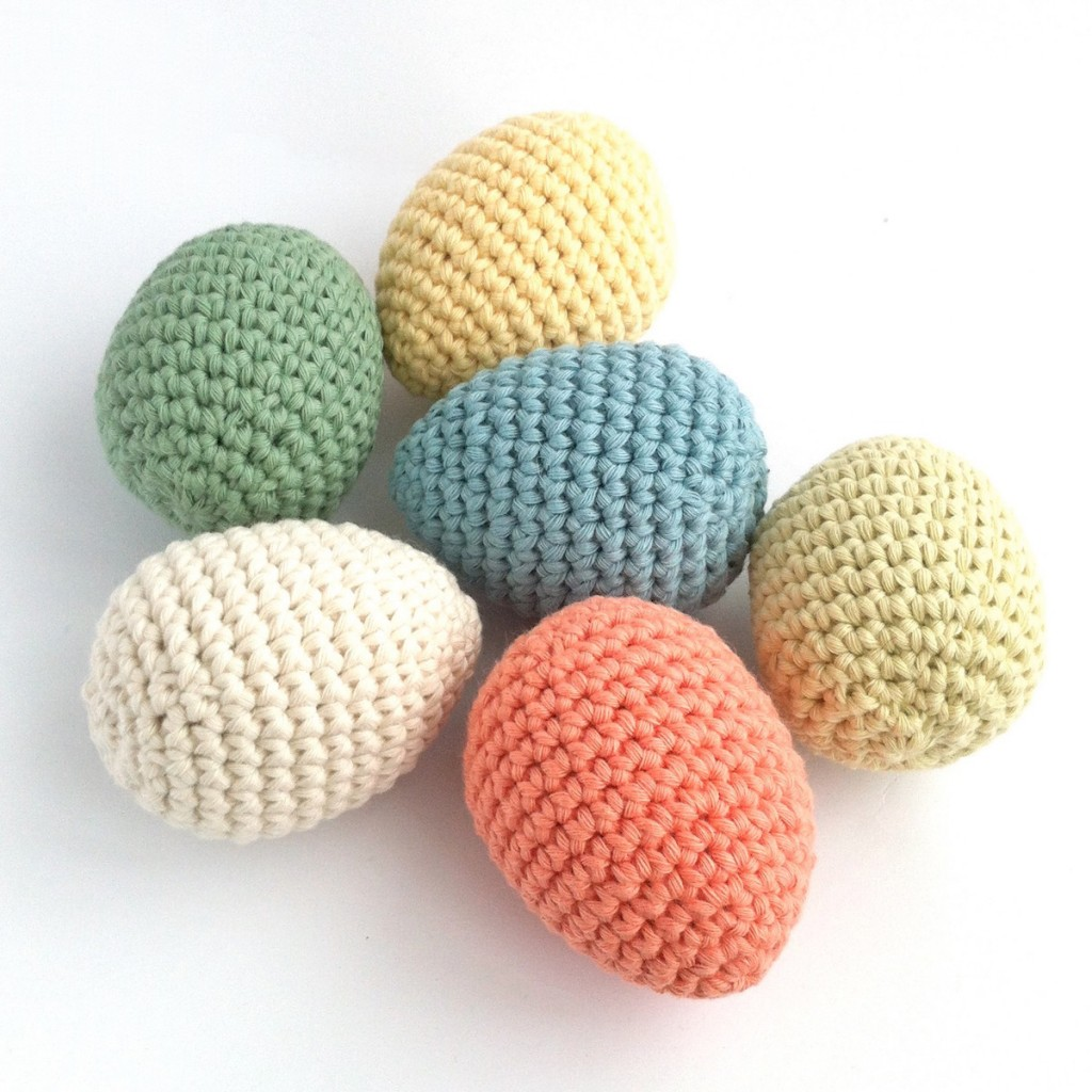Crocheted Eggs made to an original Little Conkers pattern
