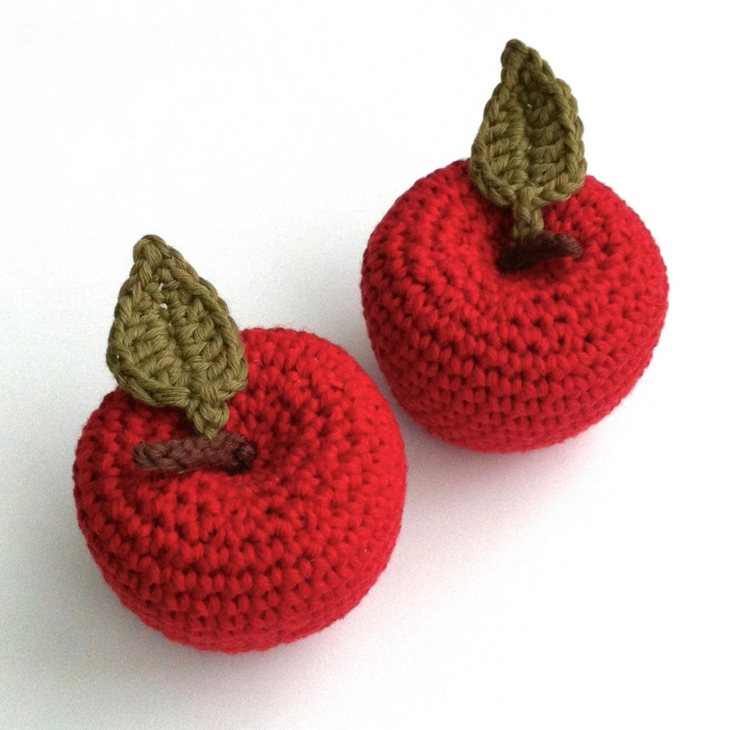 Crocheted Apples made to an original Little Conkers pattern