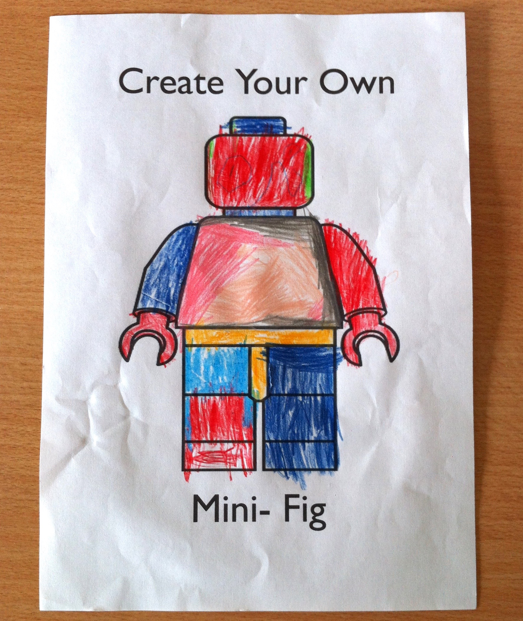 Picture of a colouring page of a Lego Mini-figure