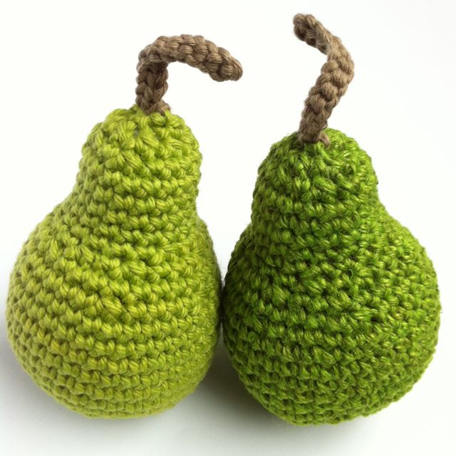 Crocheted Pears made to an original Little Conkers pattern
