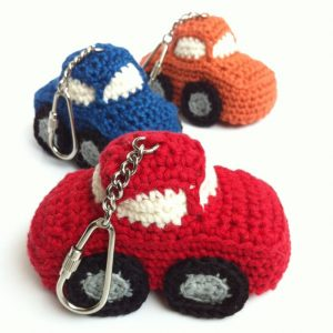 Hand-crocheted car key ring