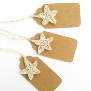 Eco-friendly gift tags with sparkly crocheted star detail