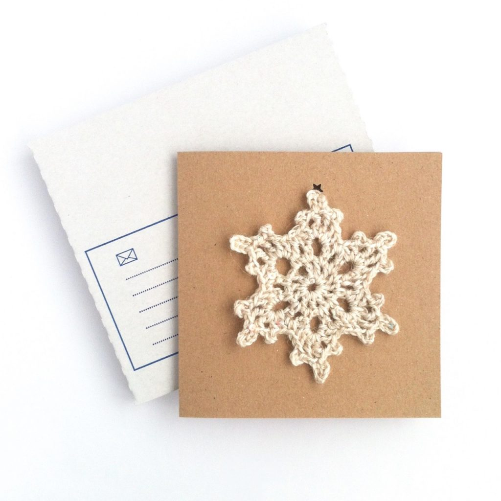Crocheted Snowflake Ornament Greetings Card