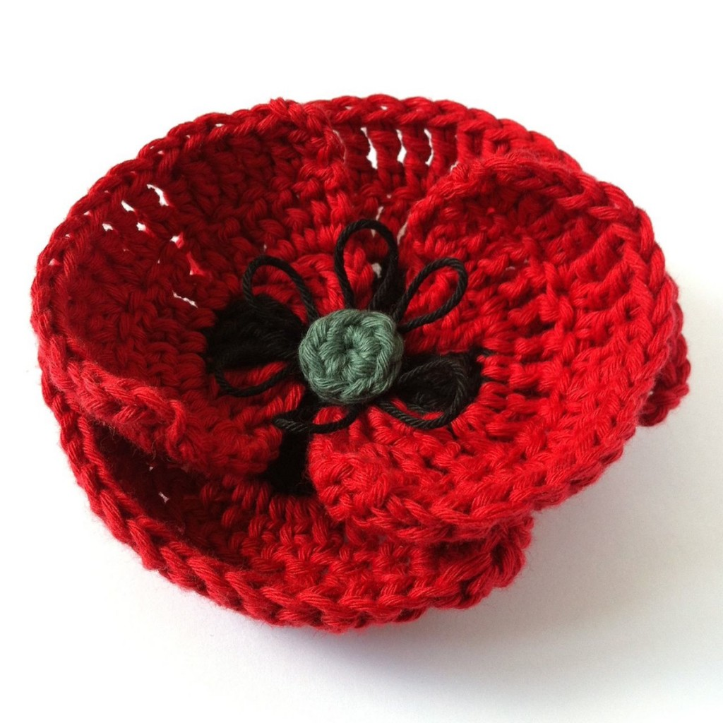 Crocheted Poppy made to an original Little Conkers pattern