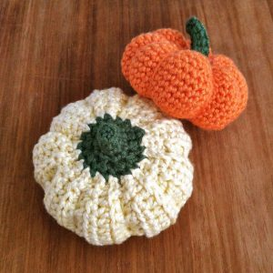 Picture of hand-crocheted pumpkins
