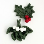 Holly and mistletoe brooches