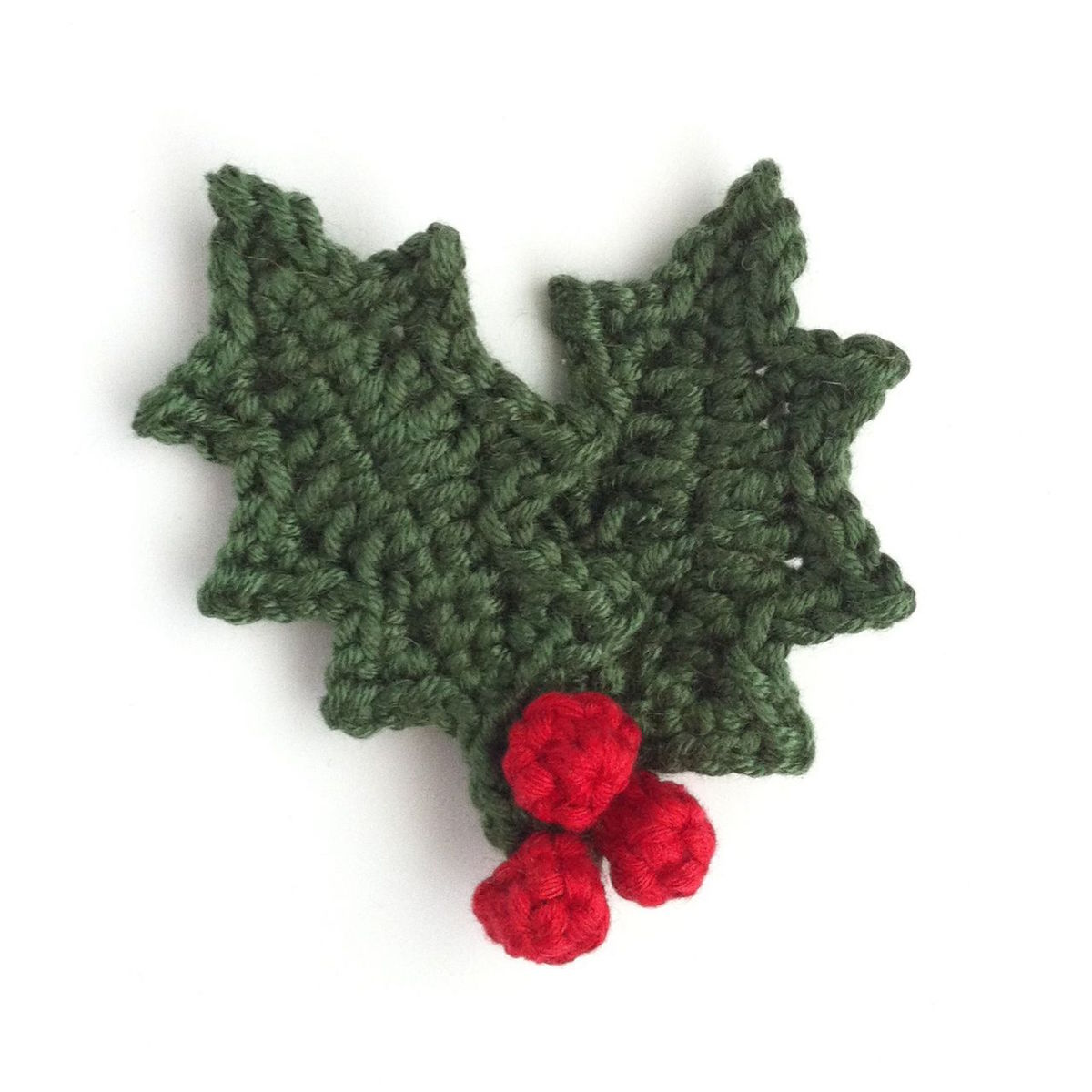 Hand-crocheted holly leaf brooch