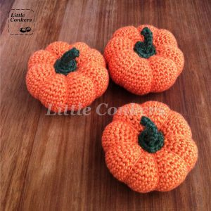 Hand-crocheted pumpkins