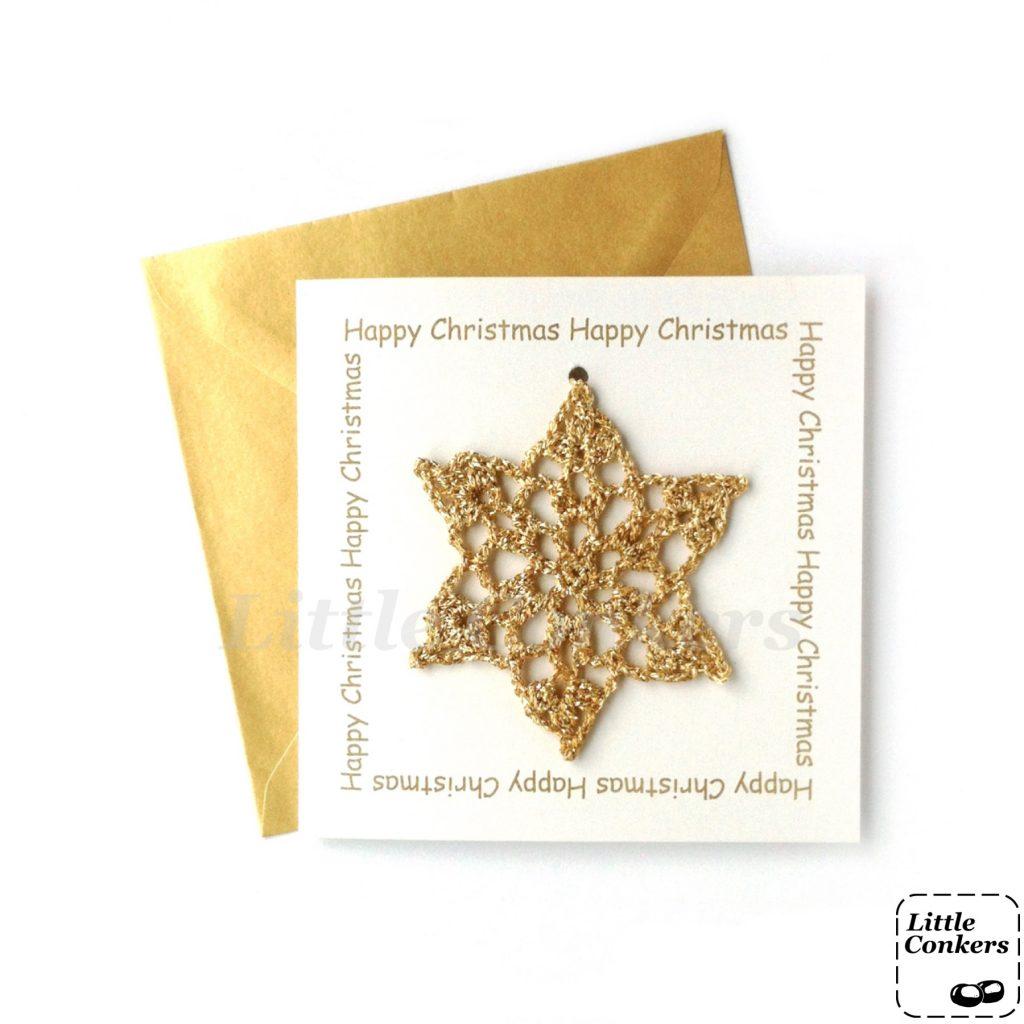 Gold Snowflake Greetings Card
