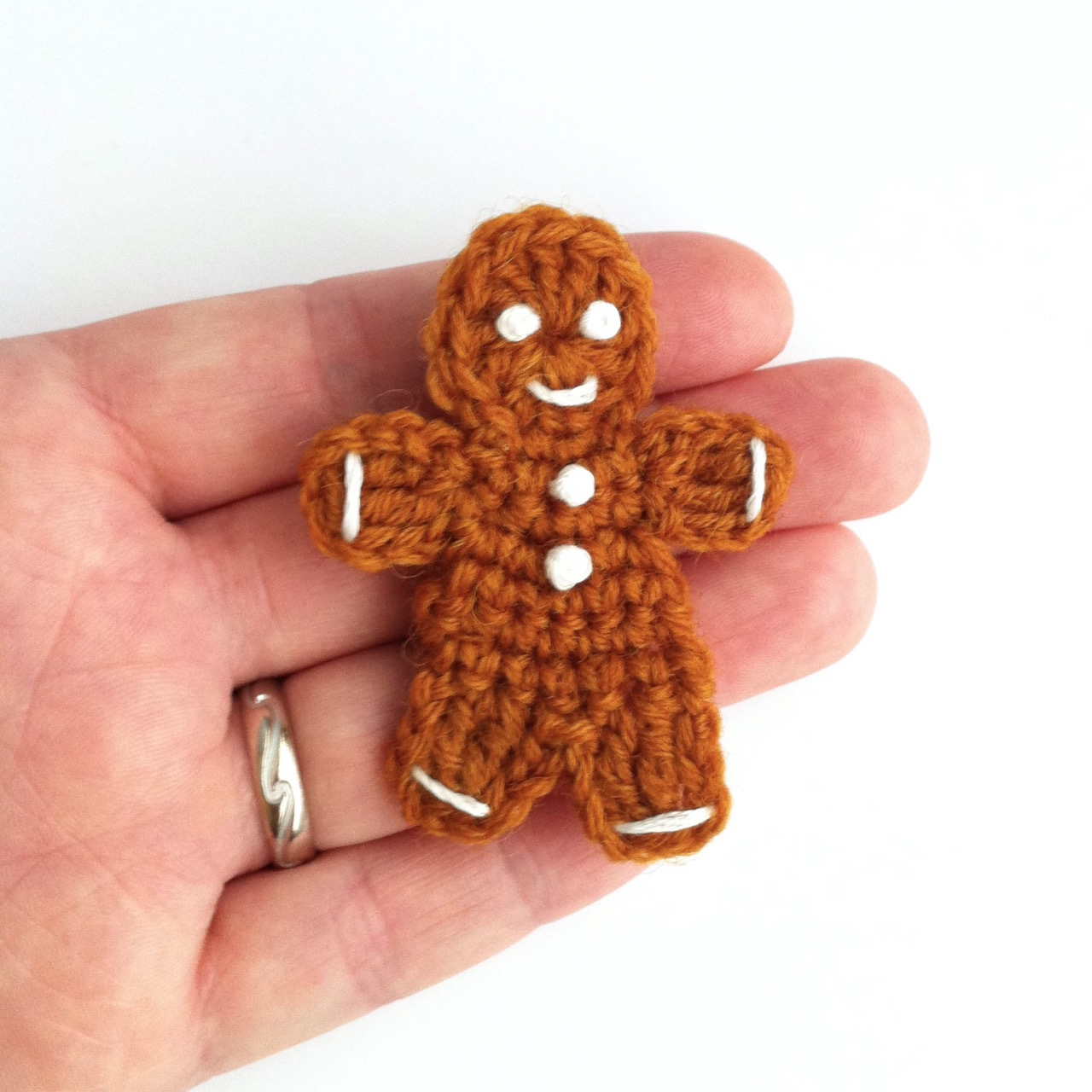 Crocheted Gingerbread Brooch