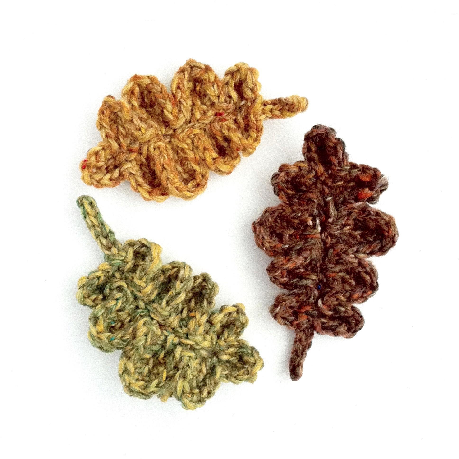 Recycled Wool Oak Leaf Brooches