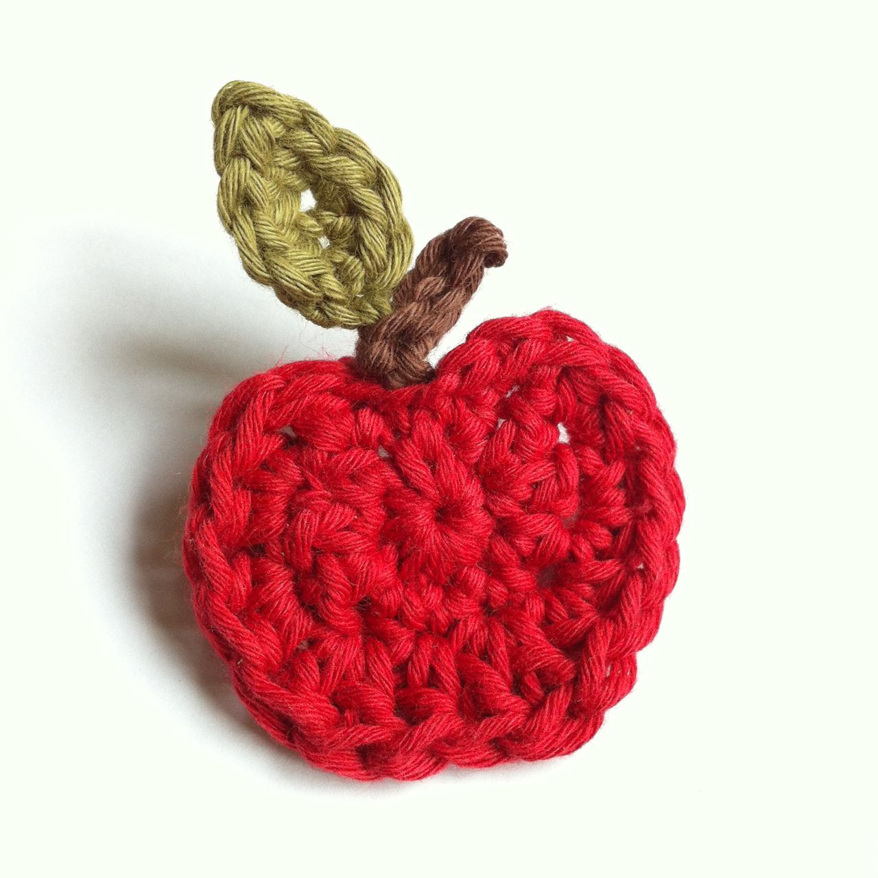 Apple Brooch in Organic Cotton