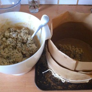 Filling the cake tin