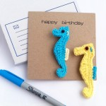 Greetings Card with Seahorse Brooch