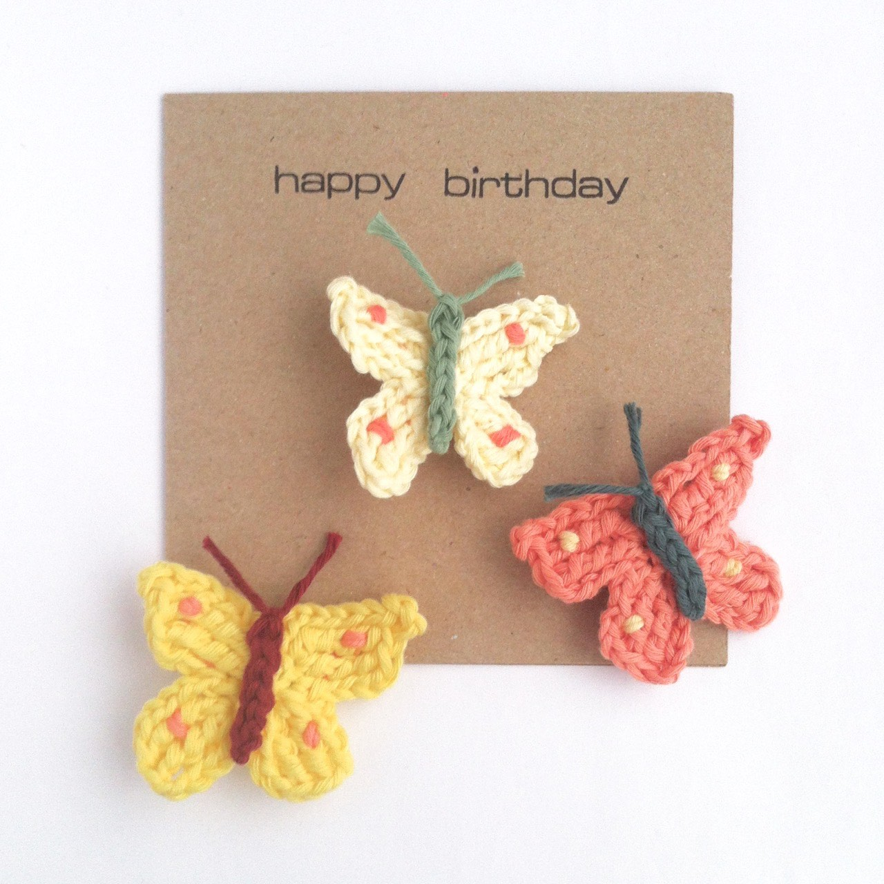 Greetings Card with Butterfly Brooch