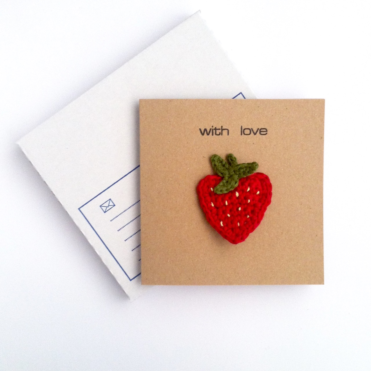 Greetings Card with Strawberry Brooch
