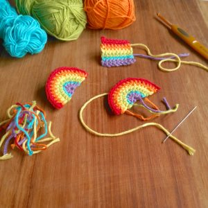 Crocheting rainbows