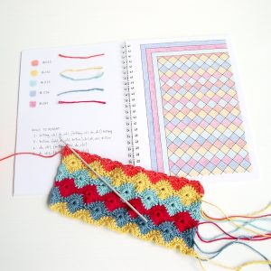 Crochet blanket colour planning by Little Conkers