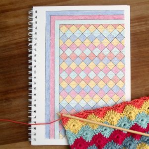 Crochet Dreams Colouring Book with Harlequin Pattern #LittleConkers