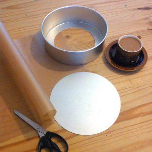 Making Christmas cake and lining the cake tin