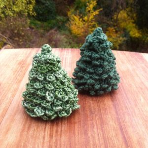 Miniature Crocheted Christmas Trees