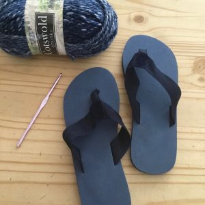 Crocheted Slippers with Flip-Flops