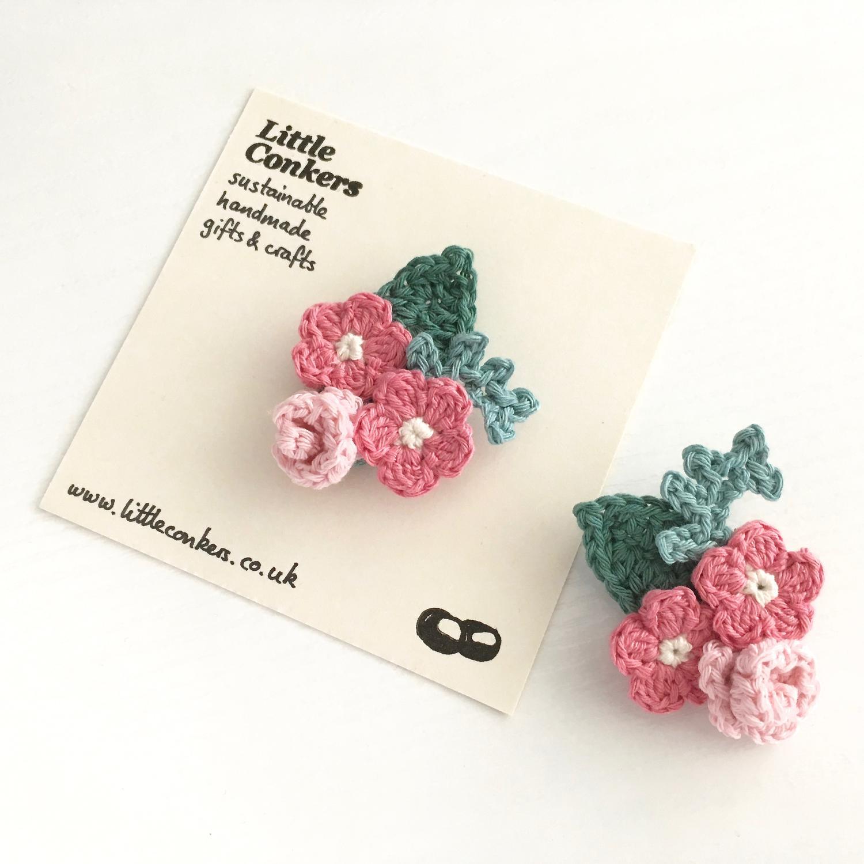 Pink Crochet Flower Bouquet Brooches