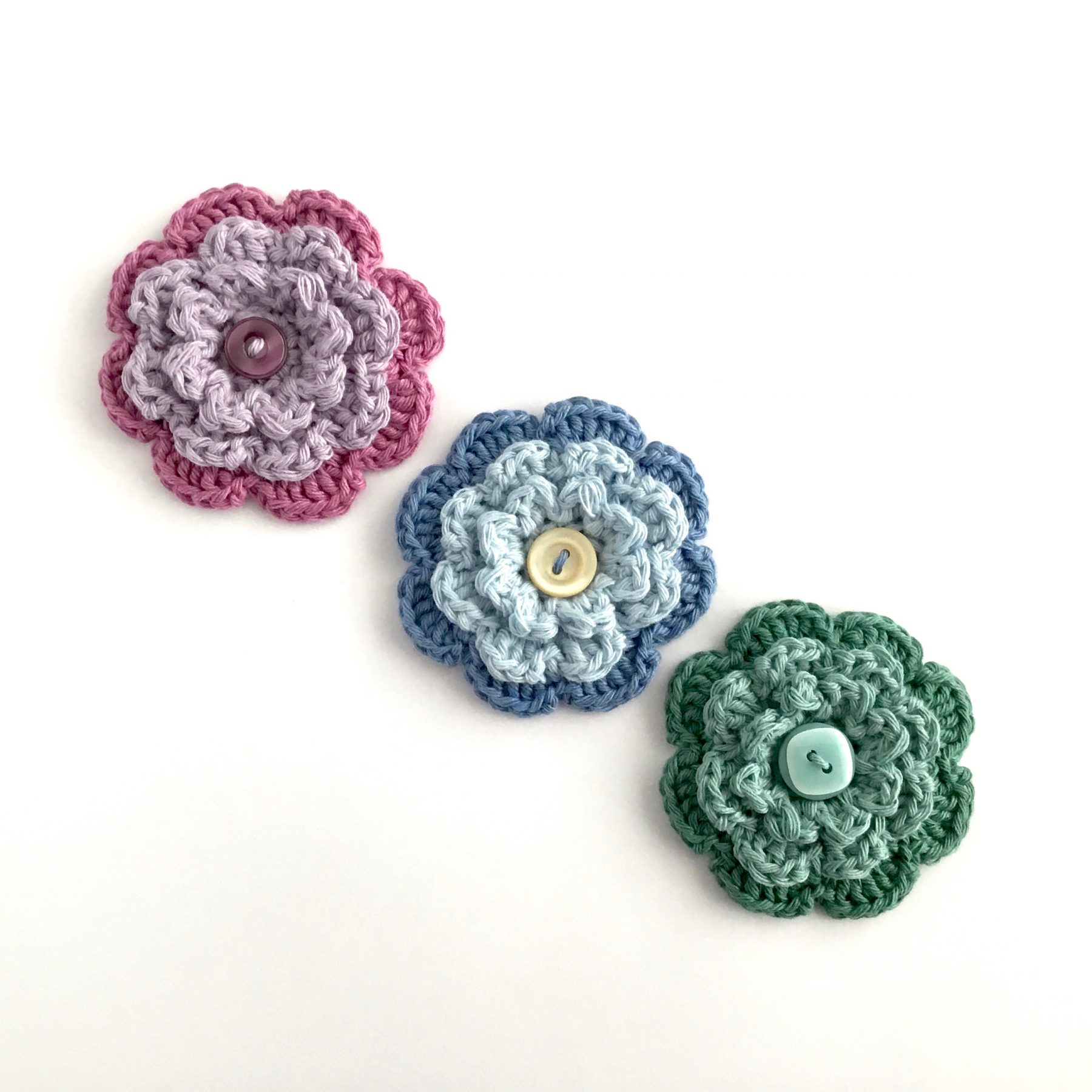 Crochet Button Flower Brooches