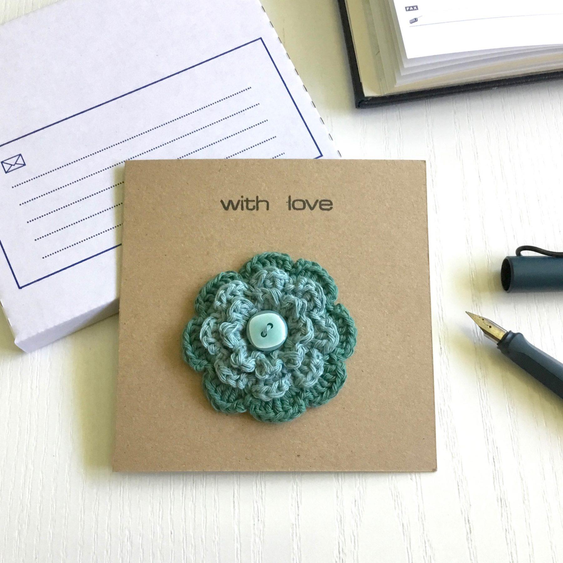Greetings Card with Flower Brooch