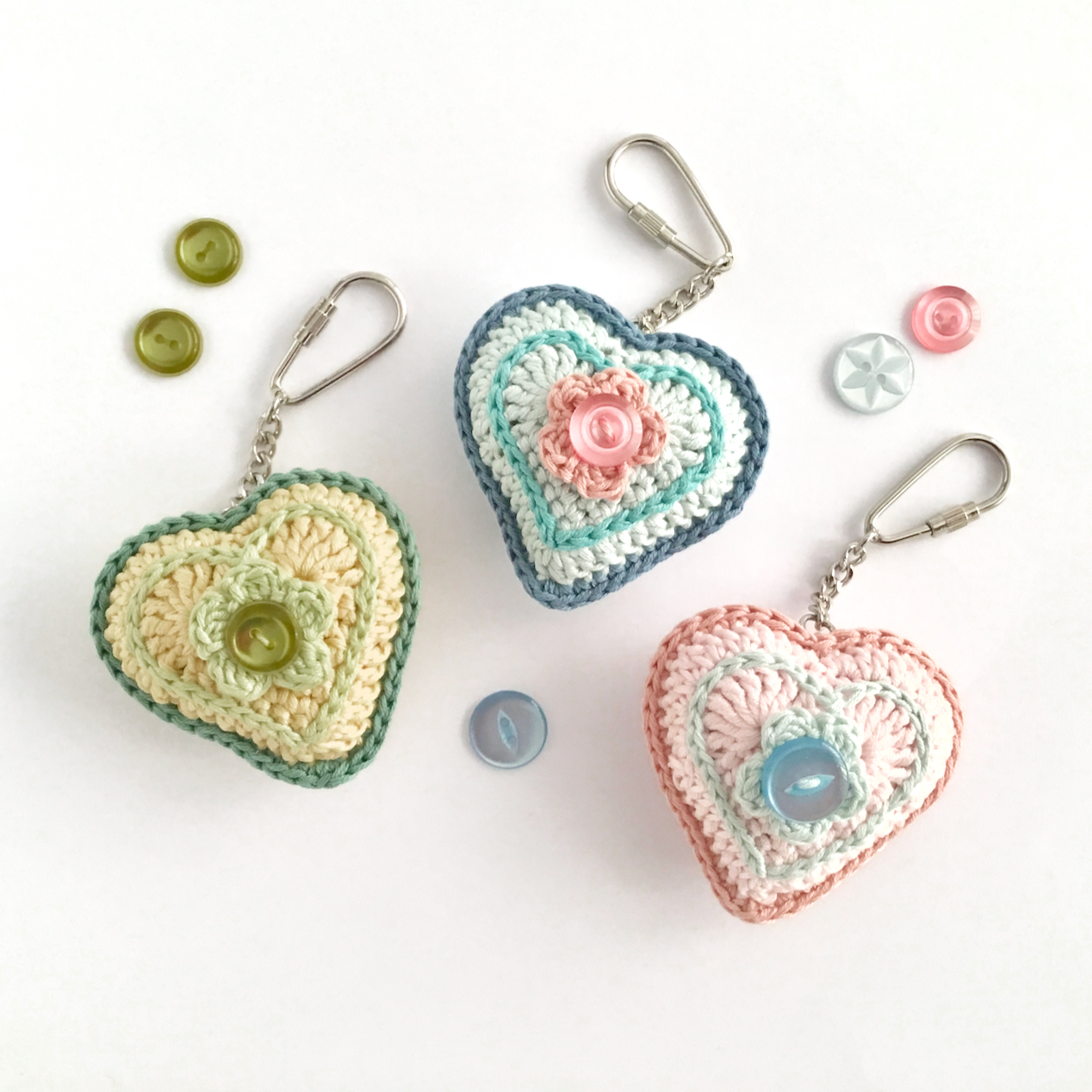 Crochet Heart Key Fobs with Vintage Buttons