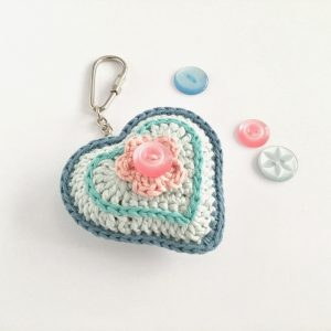 Crochet Heart Key Fob with Vintage Button