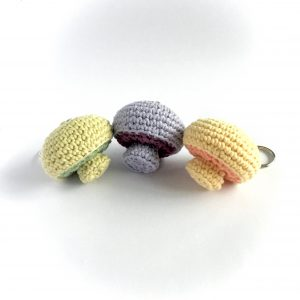 Eco-friendly Mushroom Key Rings in Organic Cotton