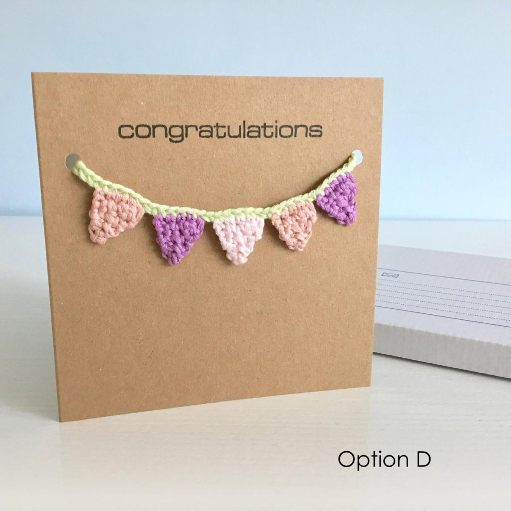 Eco-friendly any occasion greetings card with crocheted bunting