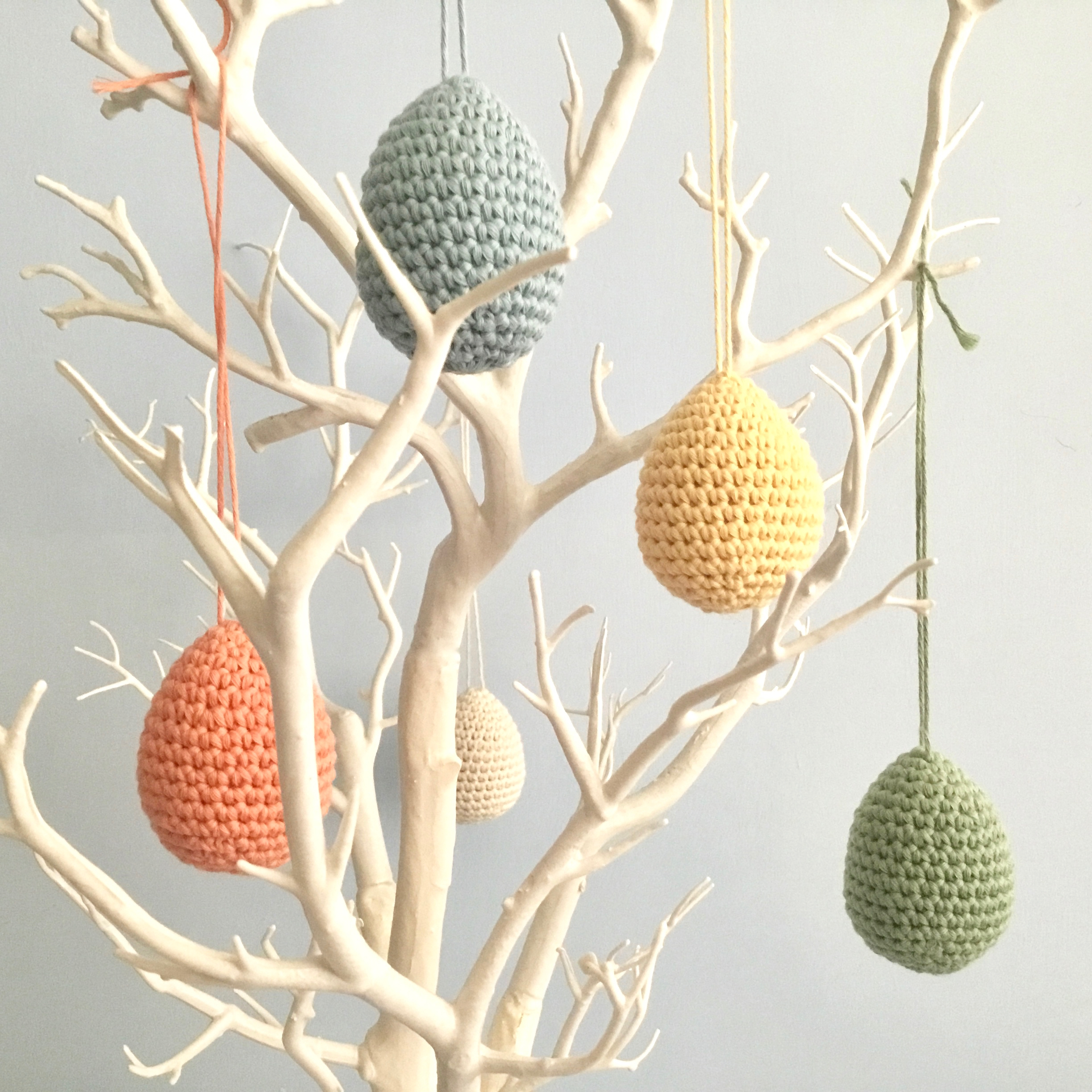 Easter egg decorations on a twig tree