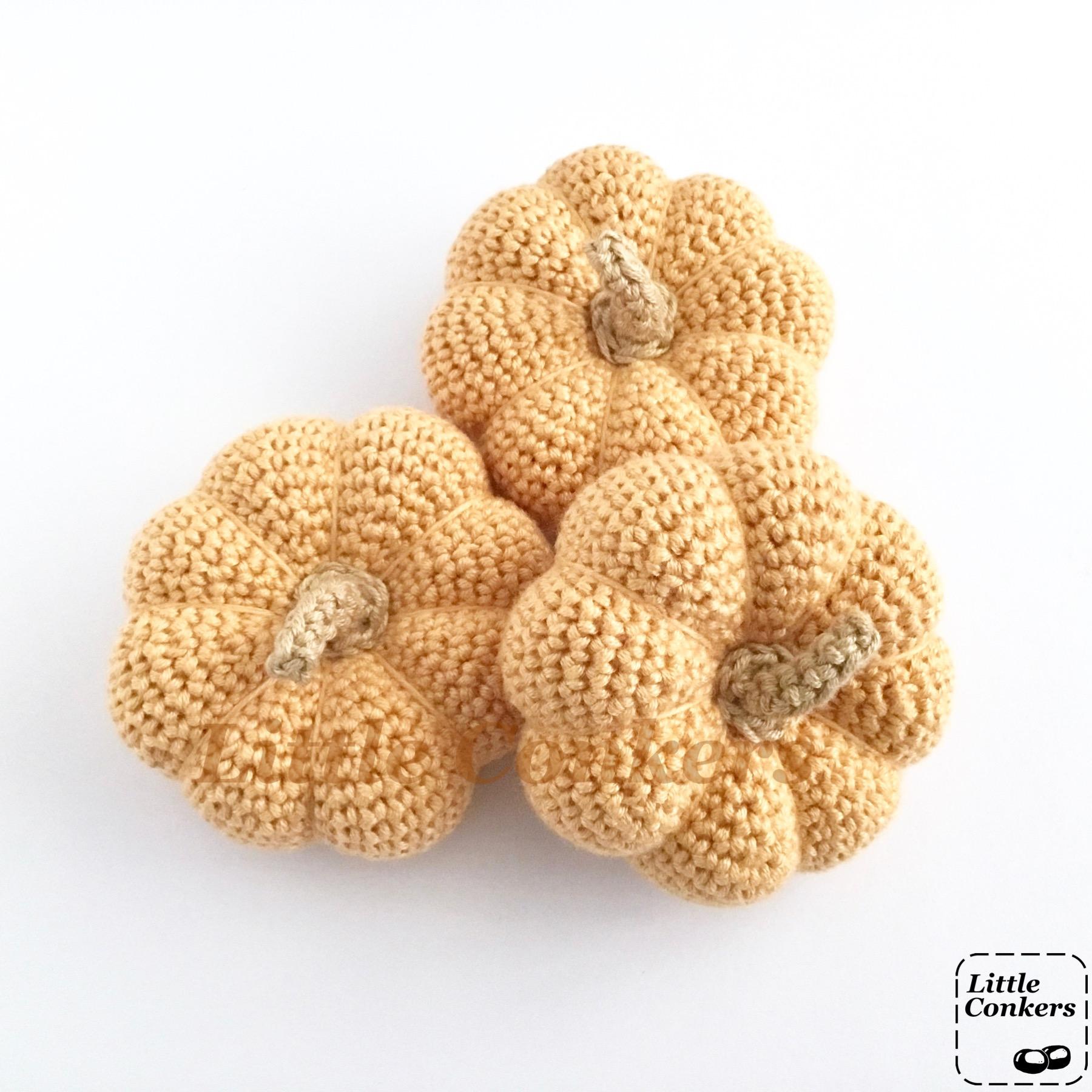 Crocheted Pale Orange Pumpkins