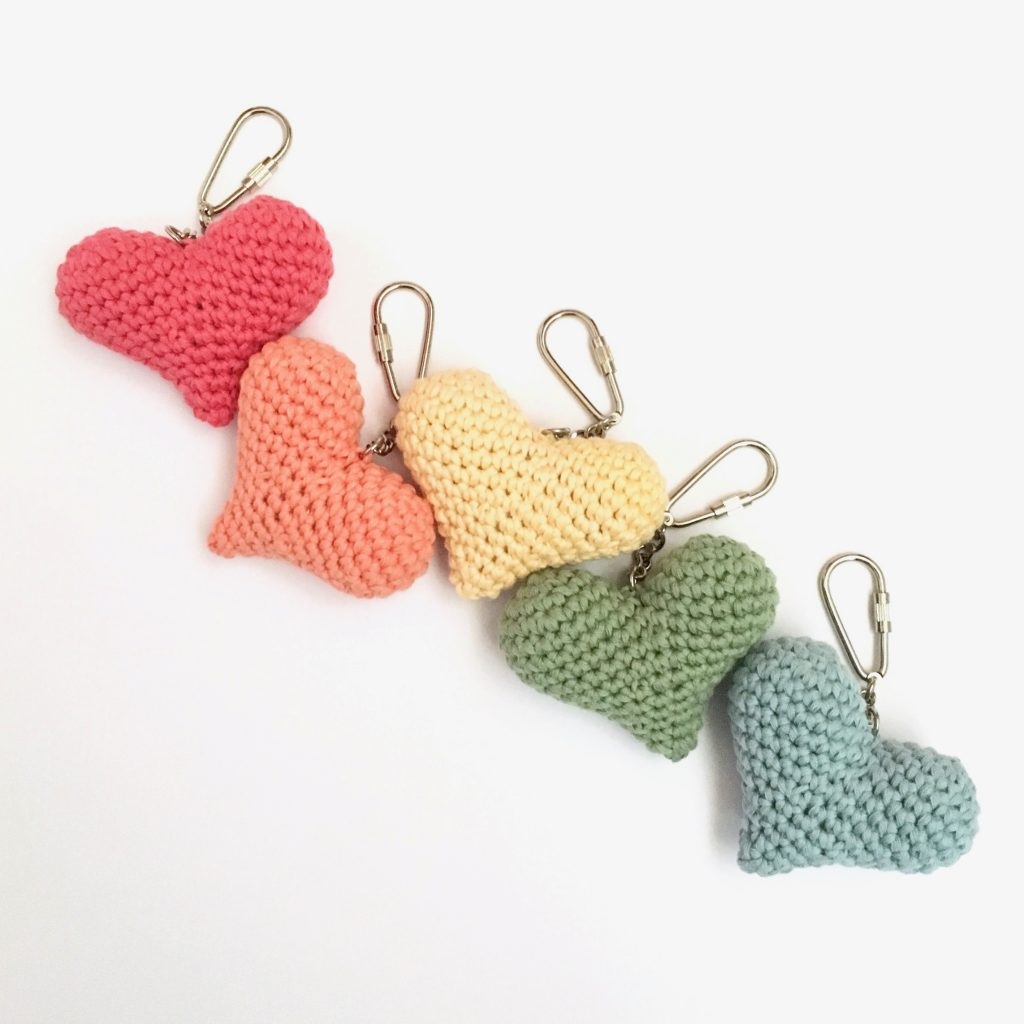 Eco-friendly Heart Keychains in Organic Cotton