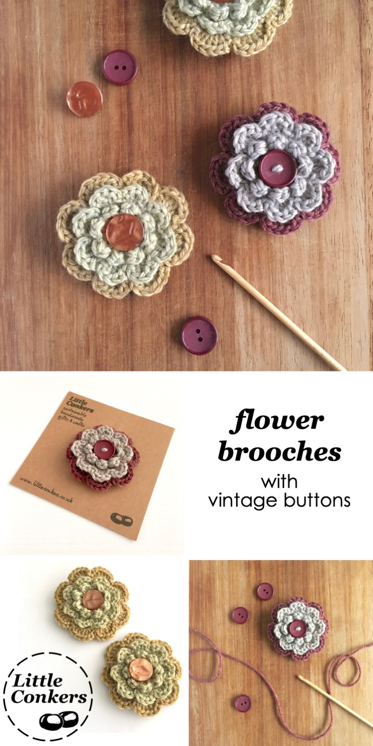 Eco-friendly Button Flower Brooches