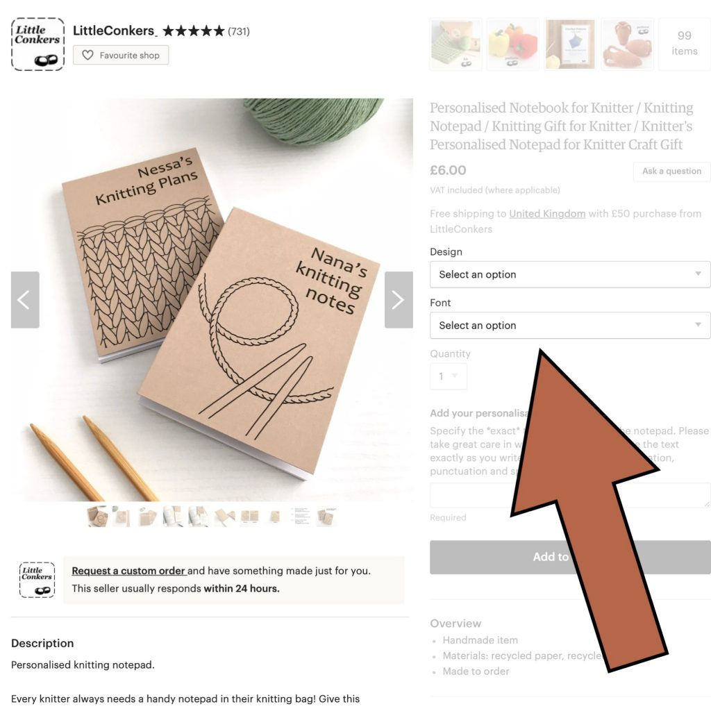 Using Etsy listing Variations to add gift-wrapping option