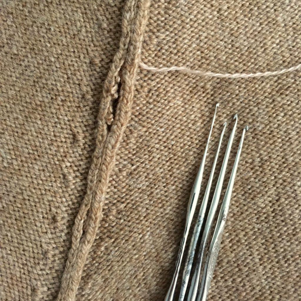 Mending a Woollen Sweater Raglan Seam