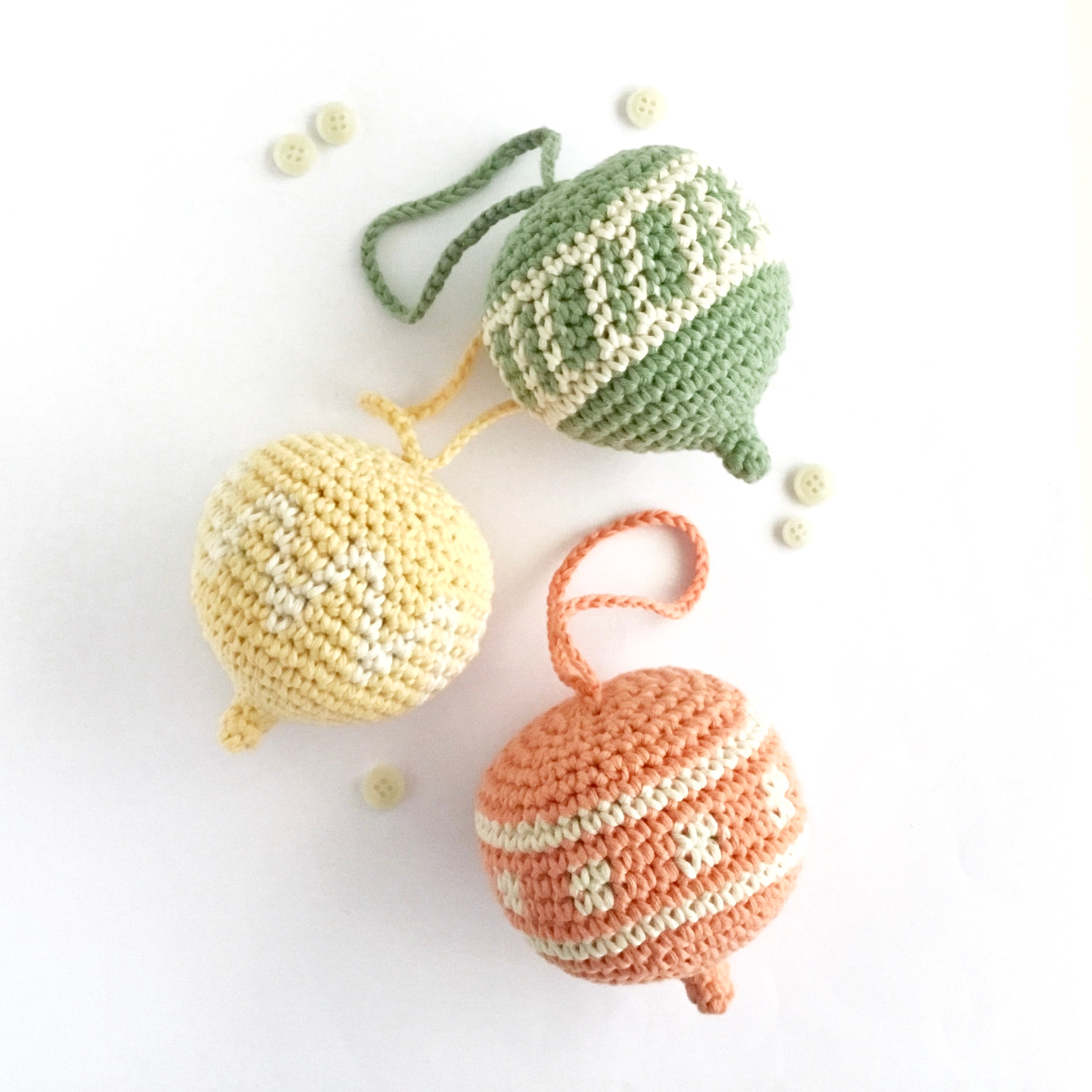 Pastel Coloured Spring Ornament Crochet Pattern