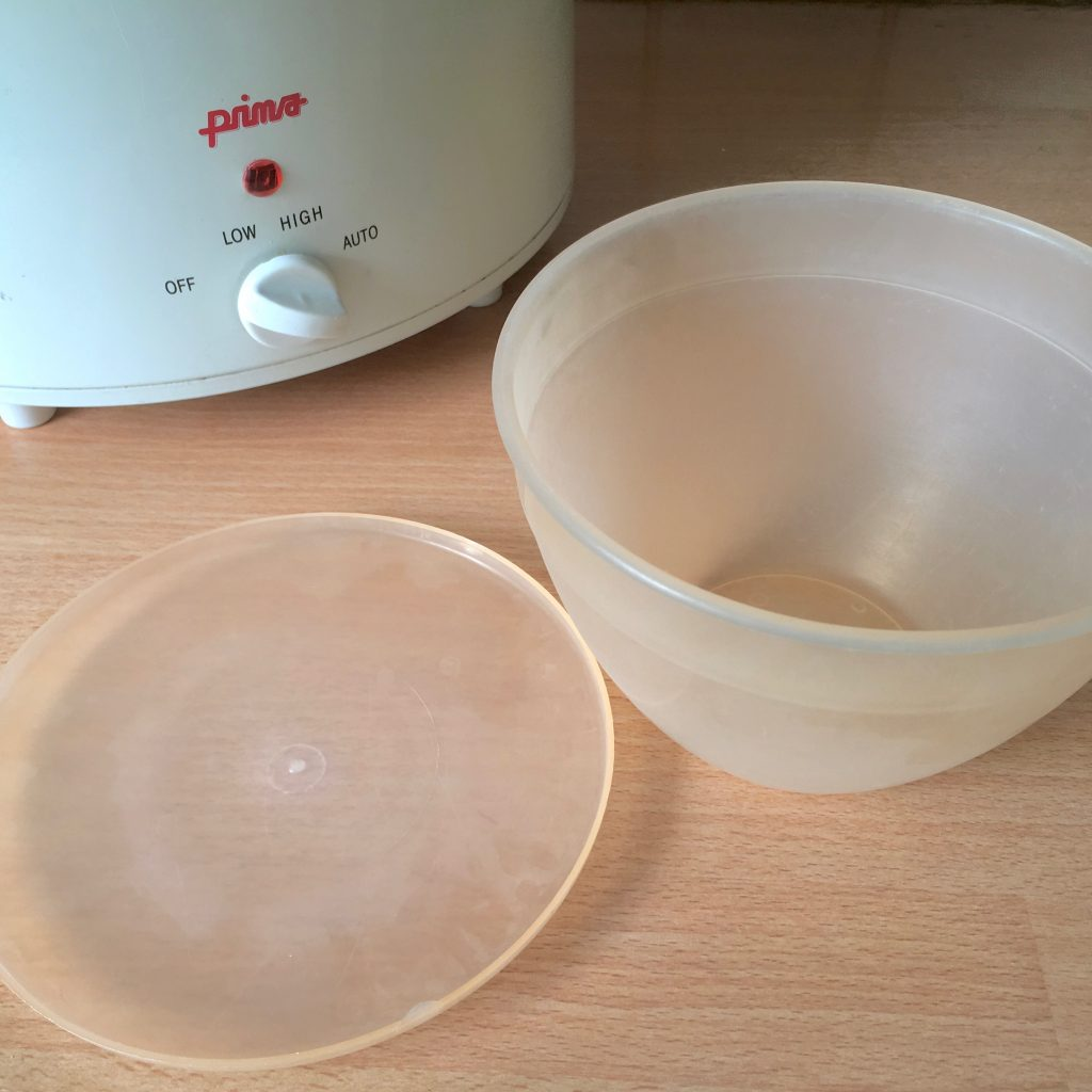 Plastic Pudding Basin with a Slow Cooker