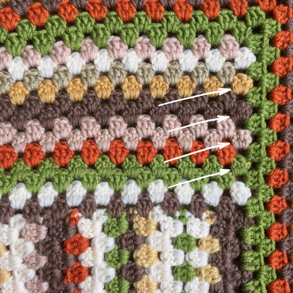 Crochet Granny Stripe Blanket Row Ends