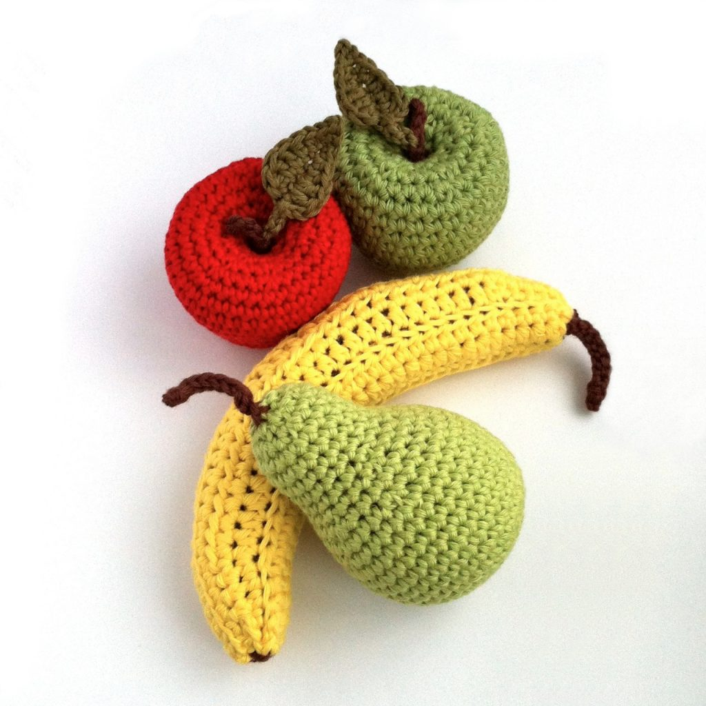 Crochet Patterns for a banana, pear and apple