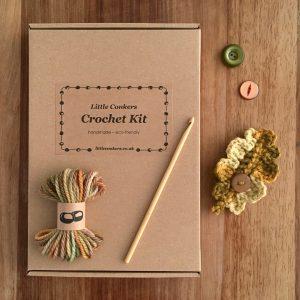 Eco-friendly crochet kit for a woollen oak leaf brooch with vintage buttons
