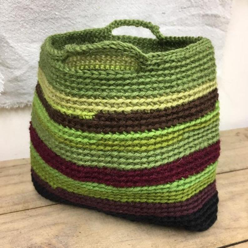 Vintage wool basket in shades of green